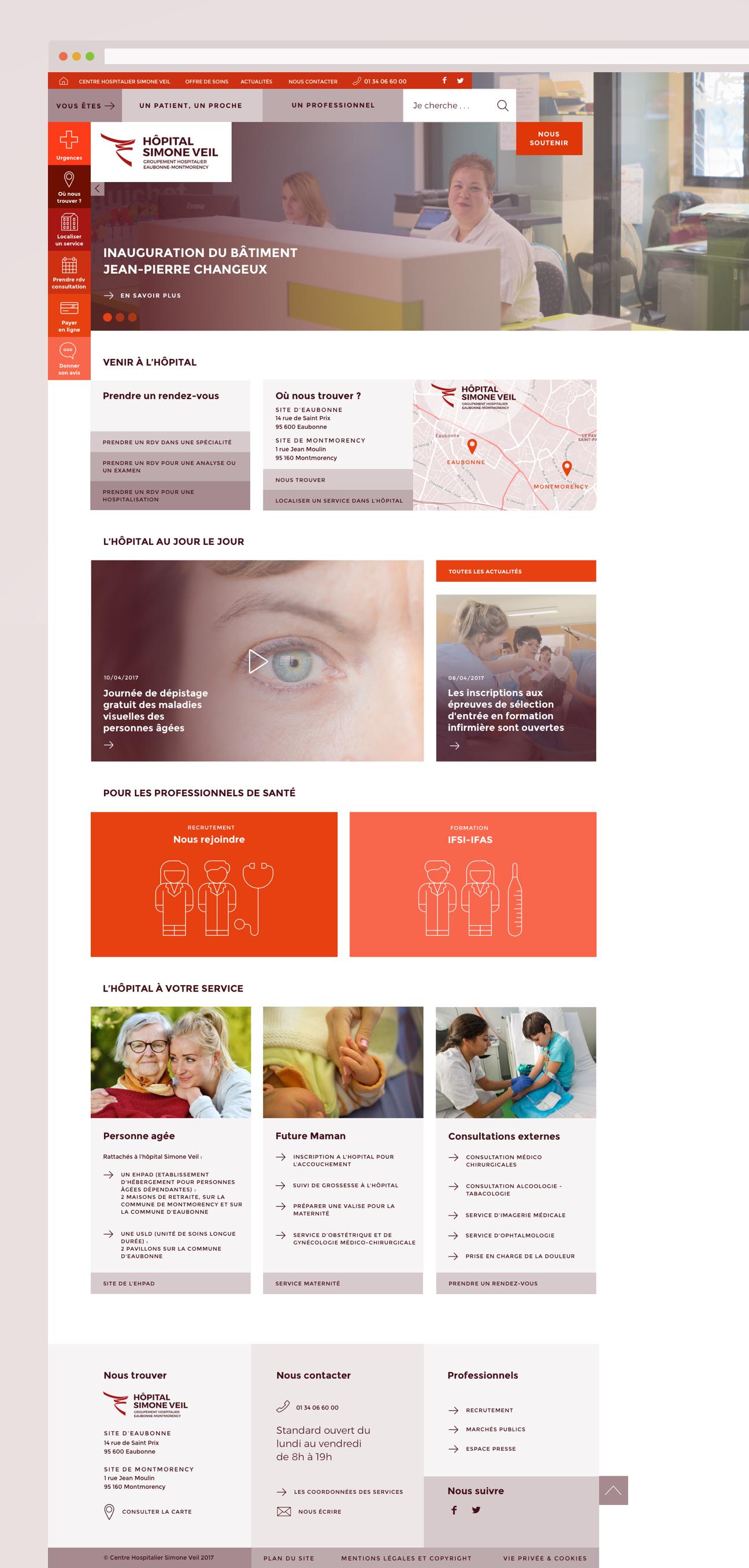 Webdesign hôpital : page d'accueil