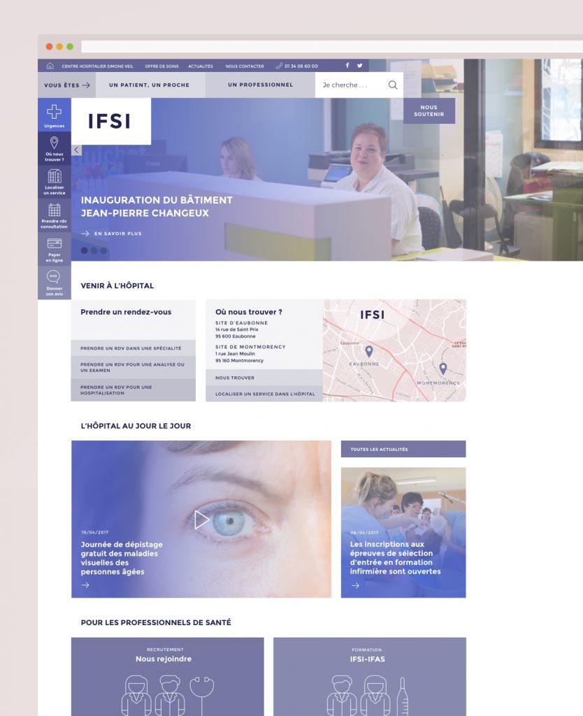 Webdesign hôpital : variante bleue école d'infirmières