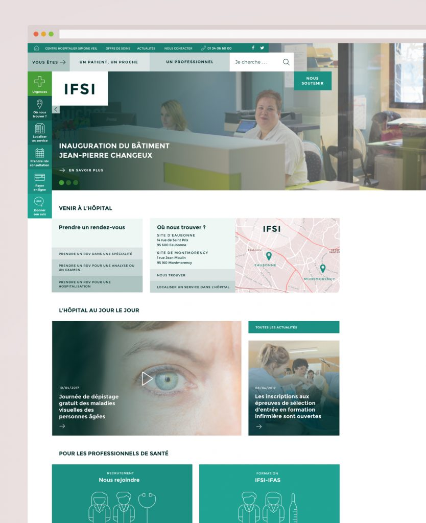 Webdesign hôpital : variante verte école d'infirmières