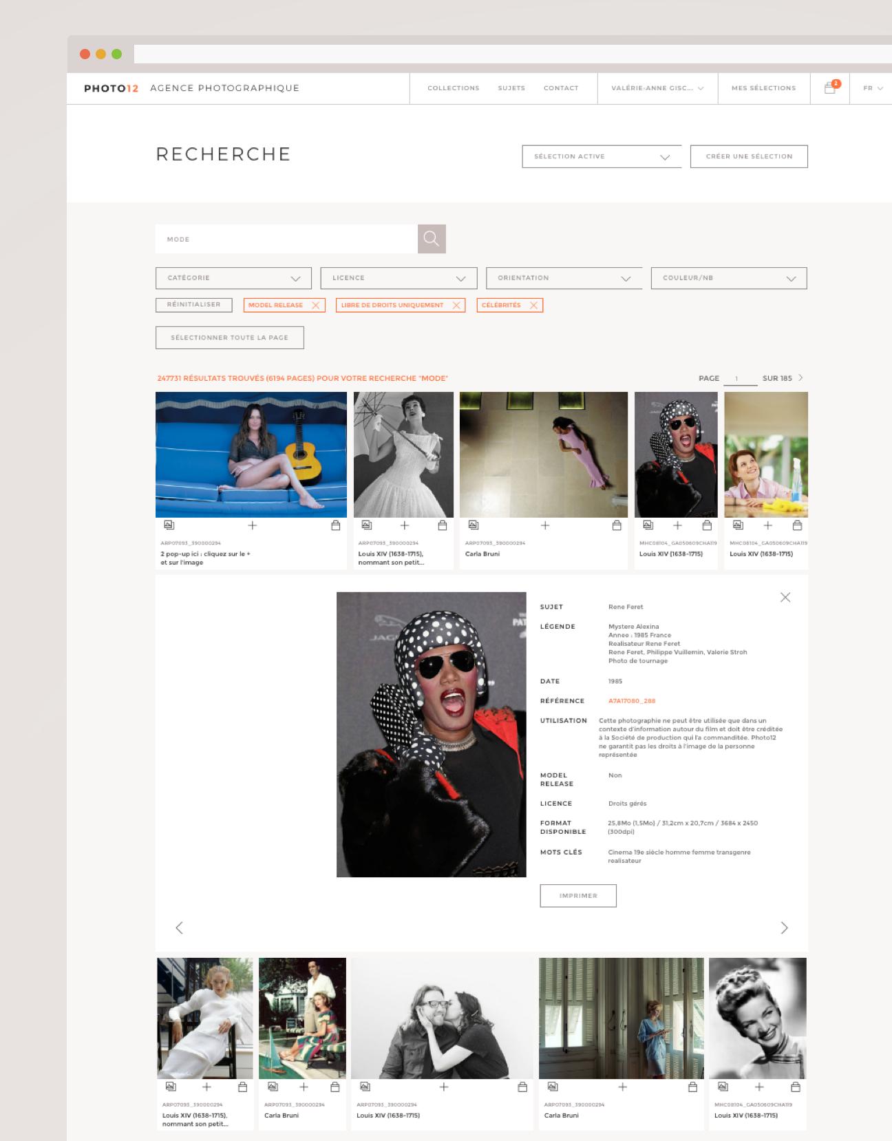 Refonte de la banque d'images : page de recherche