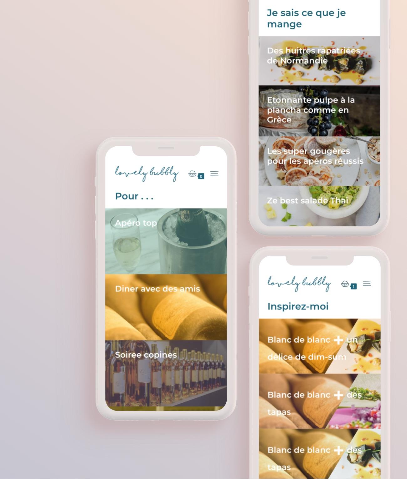 boutique en ligne et interface : catégories