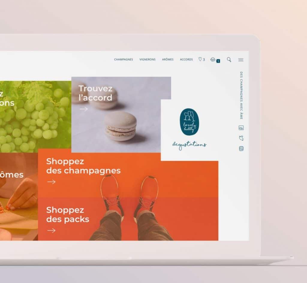 boutique en ligne et interface : accueil desktop