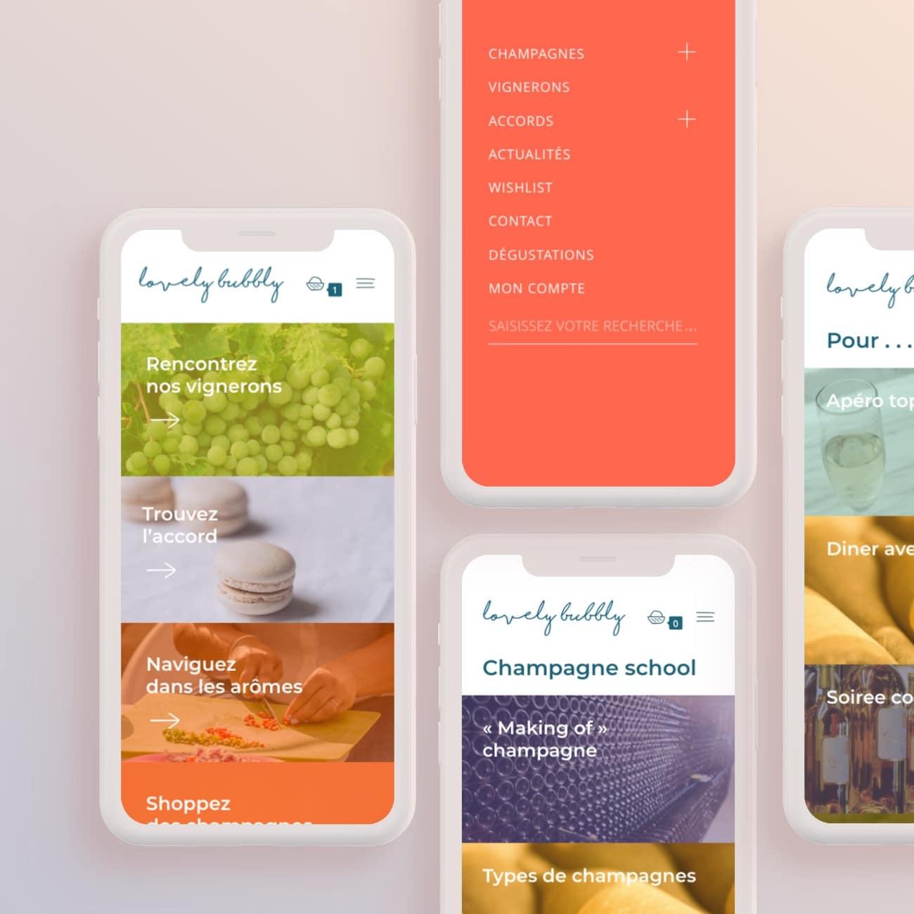 boutique en ligne et interface : accueil