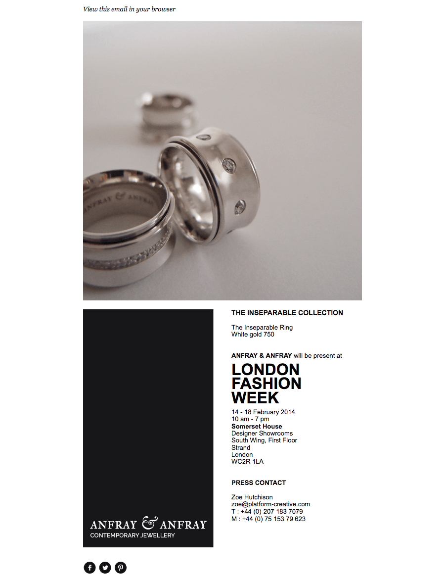 E-mailing pour la London fashion week
