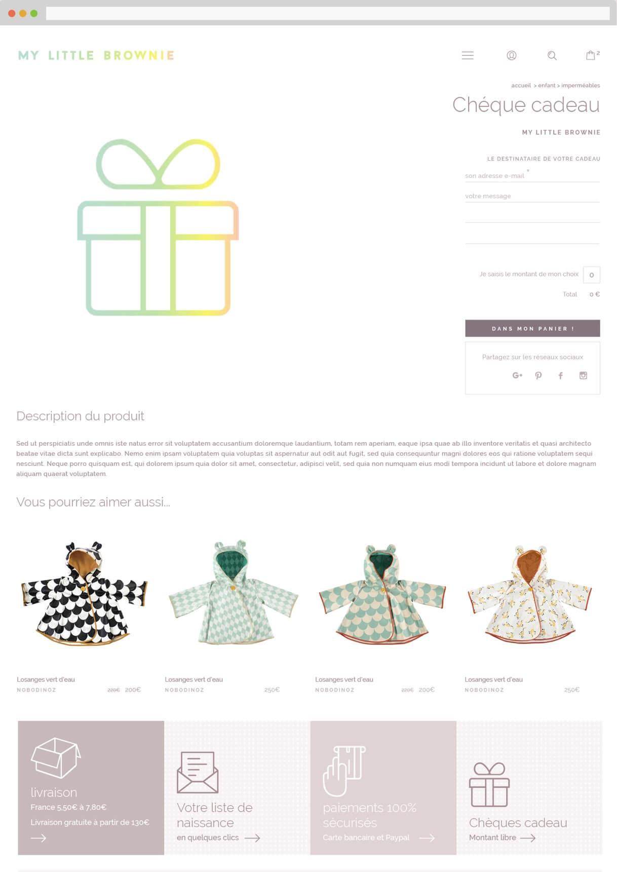 Logo animé et site e-commerce : chèque cadeau