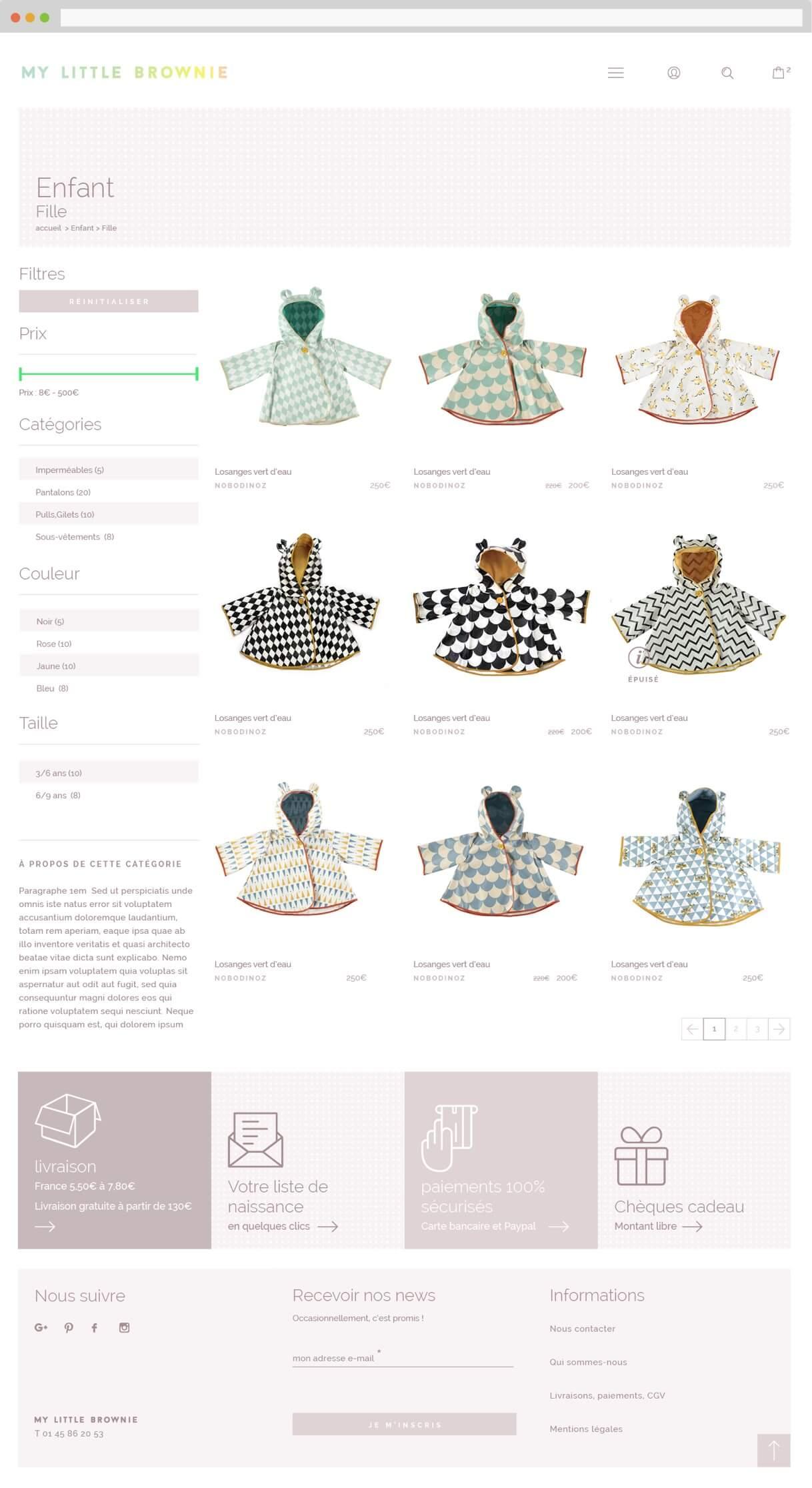 Logo animé et site e-commerce : catégorie produit