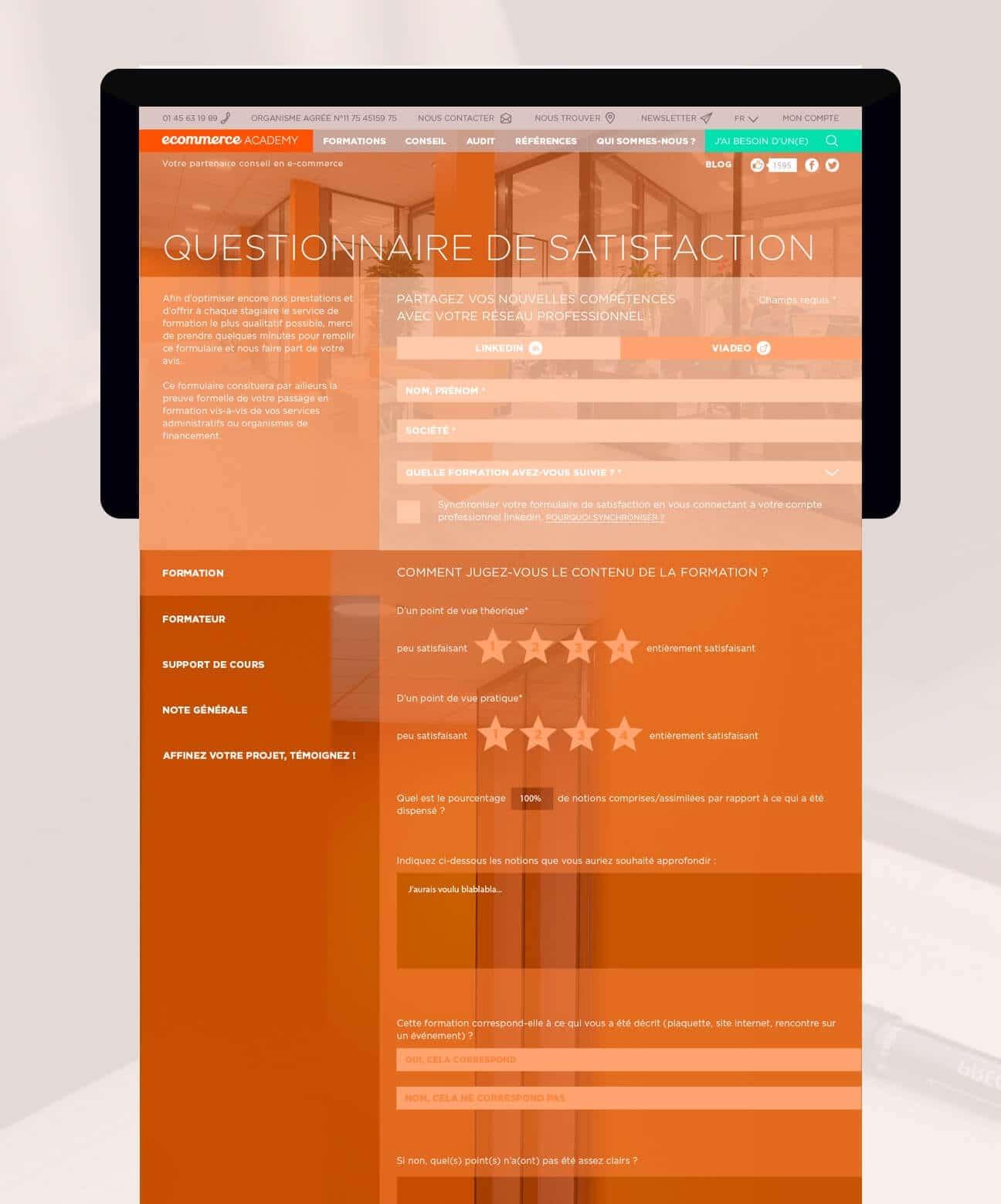 Identité visuelle et webdesign : questionnaire satisfaction