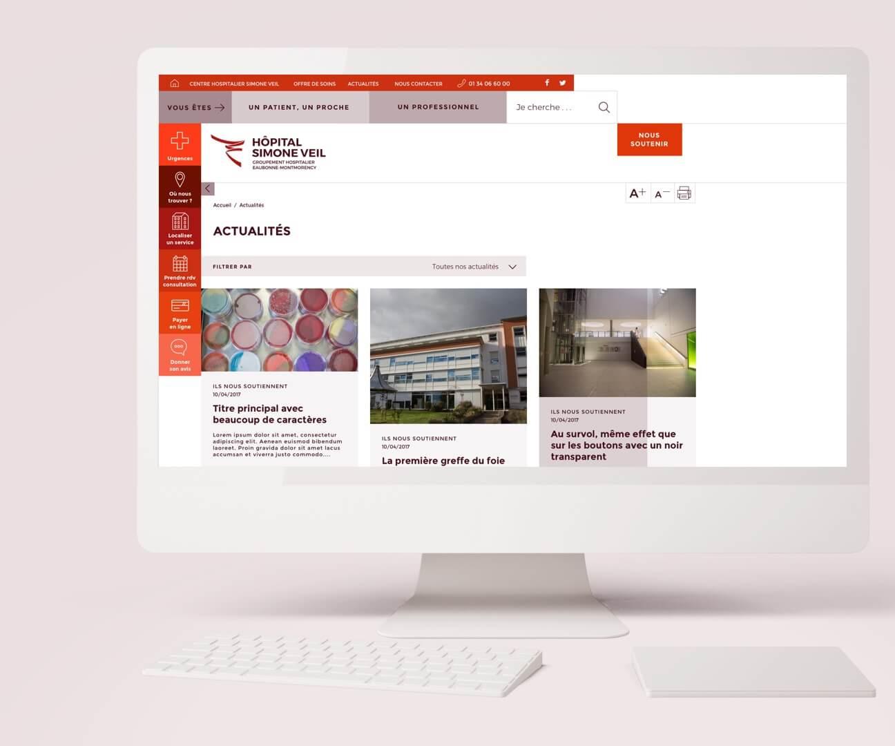 Webdesign hôpital : accueil