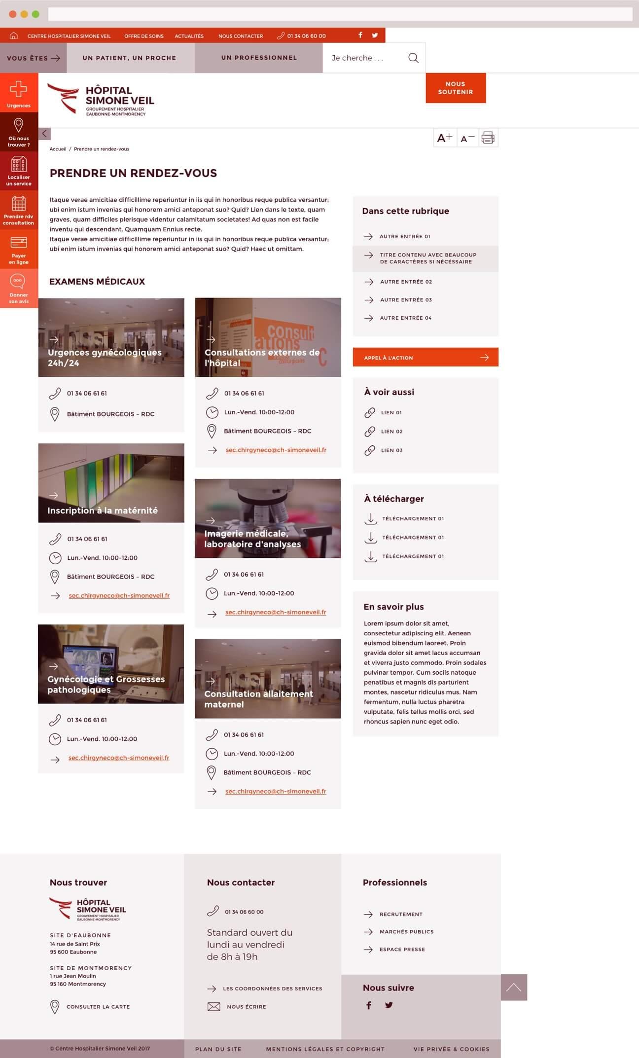 Webdesign hôpital : page rendez-vous