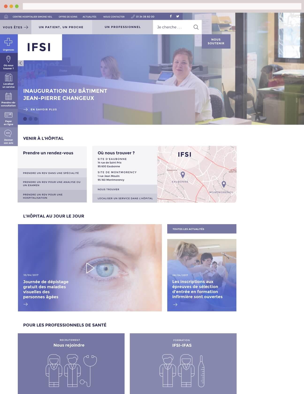 Webdesign hôpital : variante bleue école infirmières