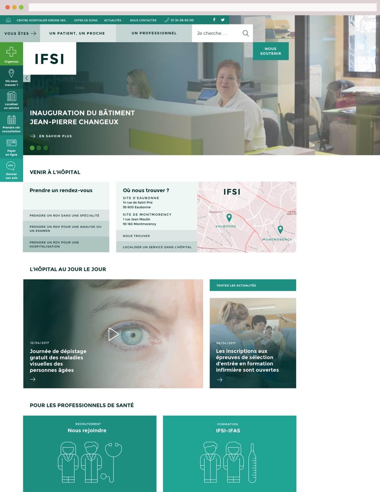 Webdesign hôpital : variante verte école infirmières