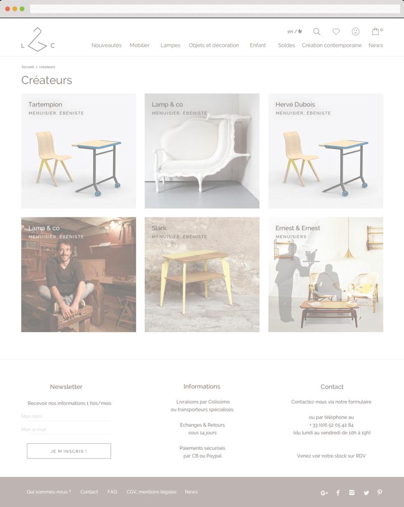 Refonte du logo et de la boutique en ligne : page créateurs