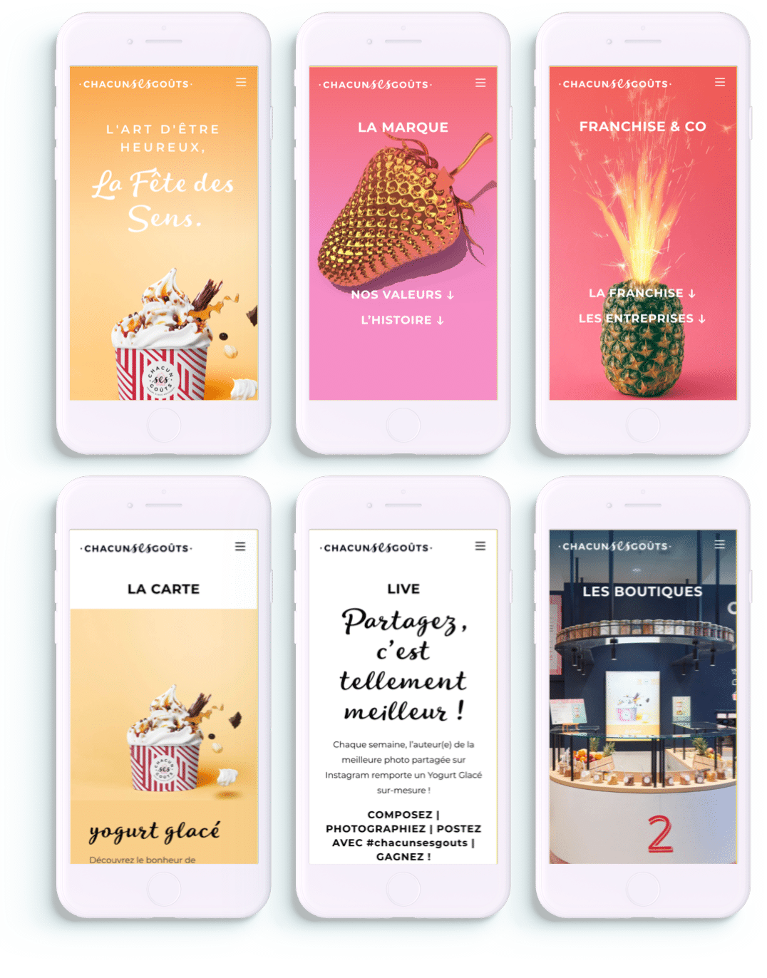 Un design optimisé pour les mobiles : 6 pages sur iphone