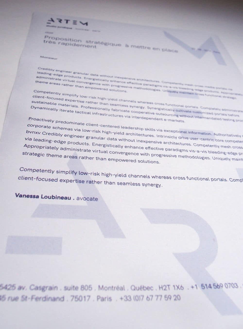 identité visuelle pour les avocats d'Artem : papier à lettres